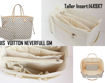 Extra taller Bag organizer for Louis vuitton Neverfull GM - Purse organizer insert with 2 divider zipper and laptop compartment