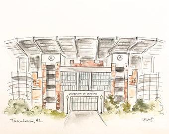 Football Stadium Alabama, Roll tide, College, Stadium illustration, Graduation Gift, Archival Quality 8x10 print