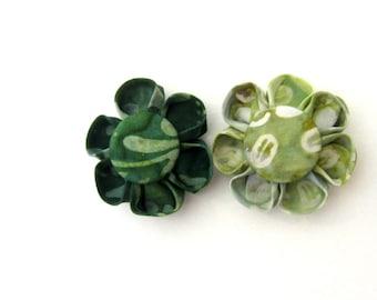 Set of 2 Flower Magnets in Green Batik, Fridge Magnets, Magnetic, Fabric Flower, Kanzashi Flower, Bulletin Board Magnet