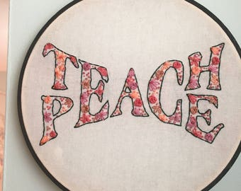 Teach Peace Hand Embroidered Wall Art