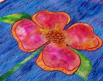 MarveLes PEACHY POSY Wall Art Flower Quilt Blue Peach Pink Spring Leslie McNeil