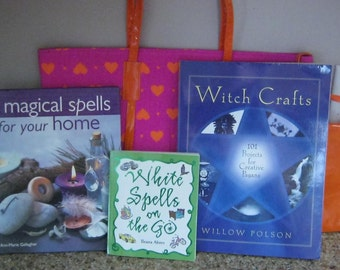 Book Bag with Three Magical Crafts and Spells Books