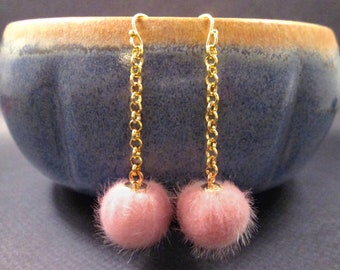 Faux Fur Earrings, Pale Pink Pom Pom Earrings, Gold Dangle Earrings, FREE Shipping U.S.