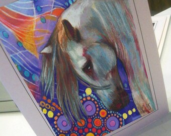 greeting card colorful horse designed Imagined Unicorn