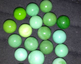 """20 - Green/ blue Base Marbles - 9/16"""" - 5/8"""""""