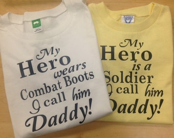 My Hero is a Soldier I call him Daddy CUSTOMIZABLE youth shirt