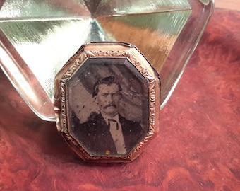 Victorian Mourning Brooch Daguerreotype  Antique Funeral Jewelry