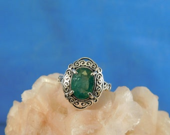 1.72 ct. Oval Columbian Emerald Ring Celtic Style Sterling Silver