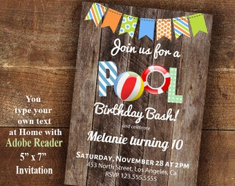 Pool party Invitation, pool bash invite, Printable invitation, Instant Download Editable PDF file A414