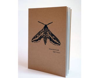 A5 Notebook - Striped Hawk-moth print Notebook, A5 Sketchbook Notepad, Kraft notebook.