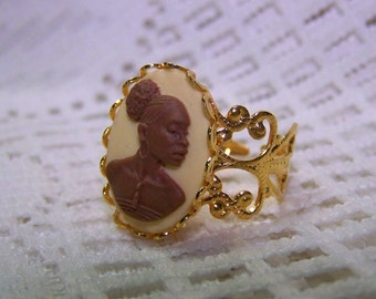 African Lady Cameo Ring, Gold Plated Filigree Adjustable Ring, New Afrikan Woman Afro-American, Africa, Brown & Ivory, African American Lady