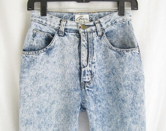 Vintage 80's Acid Washed Zipper Ankle Skinny Jeans.  X Small