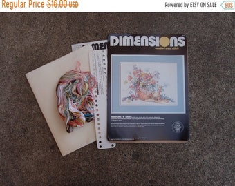 SALE SALE SALE Vintage Counted Cross Stitch Kit Do It Yourself Kit Dimensions Floral Flower Basket Ribbons Lace Hat Home Decor Crafting Supp