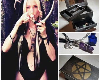 SALE! Stoner Witch Stash Box: Mirror, Altar Cloth, Crystal/Pentagram Necklaces, Antique Glass Bottle Necklace, Crystals In Velvet Pouch