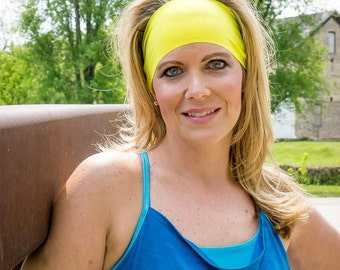 Yellow Spandex Headband - Solid Color Headband - Yoga Headband - Workout Headband - Running Accessory - Nurse Gift - Biker - Marathon - Gift
