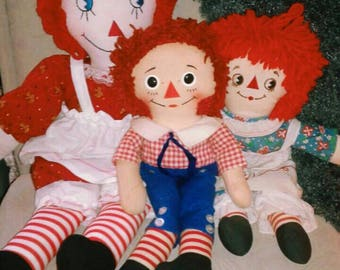 3 Vintage Raggedy Ann & Andy Dolls - Photography