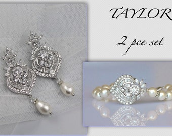 Wedding Jewelry Set, Crystal Earrings & Bracelet Set, Crystal Jewelry Set, TAYLOR II