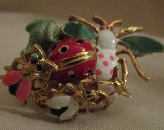 Castlecliff Vintage Trembler Pin Frog Lady Bug Leaves and Other Bugs