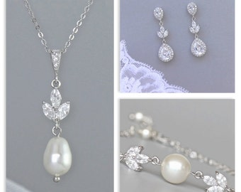Bridal Jewelry set, Wedding Jewelry Set, Pearl Earrings and Necklace set,  HAYLEY set 4