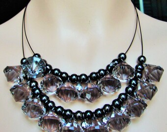 JOAN RIVERS NECKLACE Acrylic Beads 2 Strand Smoke Color Clear Faceted Bead Vintage 90s Authentic w/Tag Original Packaging Mint Rhinestones