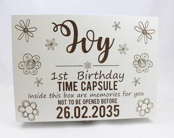 Luxury time capsule, Memory box, Keep sake box, Girls time capsule box, White memory box, Personalised time capsule, 1st birthday gift, Box