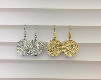 Circle Disk Earrings Dangle Handmade
