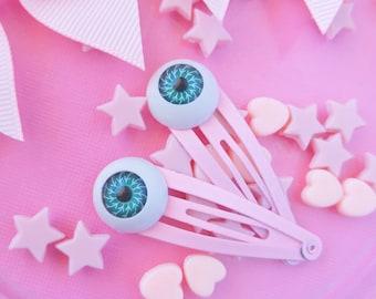 Pink Creepy Eyes Hair Clips, Two Halloween Creepy Cute Goth Hair Clips Hair Clip Cute Goth Hair Clips Kawaii Fairy Kei Hair Clips Girl Clips
