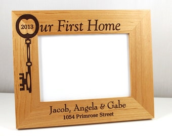 Our First (or New) Home Personalized Wood Frame (available in 2 sizes)