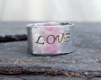 Hand Stamped Love Ring  // Inside Message Ring // Wide Silver Band // Anniversary Gift