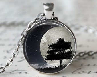 Tree Silhouette Full Moon Necklace • Night Sky • Tree Necklace • Moon Jewelry
