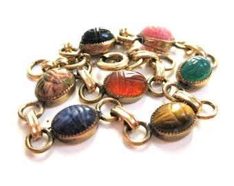 Vintage 12 K Gold Filled Scarab Bracelet / Multi-Colored