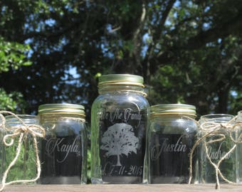 Family Tree Unity Sand Set  Blended Family of 8  Personalized Mason Jar  Sand Ceremony  Child  Choice of Etched, Stained, Fonts & Lid Color