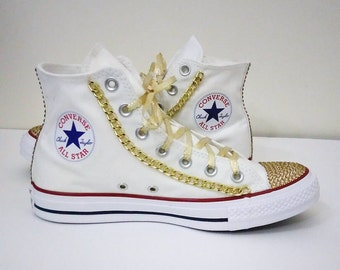 Gold converse,all star converse,gold chains,bling converse