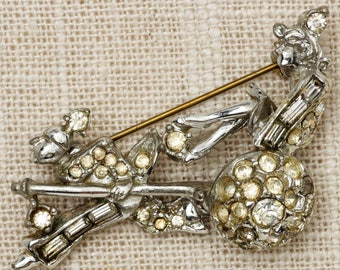 Rickshaw Rhinestone Brooch Vintage Silver Art Deco Chariot Abstract Broach Costume Jewelry Pin 6Y