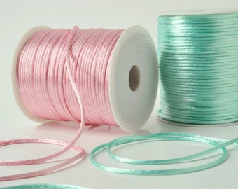 Satin rattail cord in several colours - 2mm satin cord for macrame, jewelry, decorations, coloured satin rattail cord