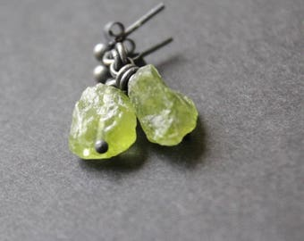 Small earrings, raw sterling silver and peridot errings, oxidized silver,
