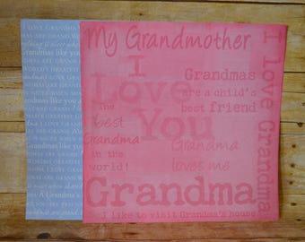 12x12 Grandma/Grandmother Scrapbook Paper