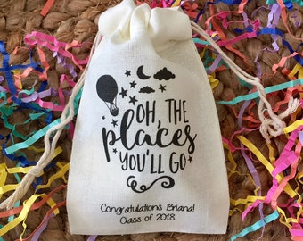 Graduation Party Favor Bags - Oh the Places You'll Go - Set of 10 (Item 1459A)