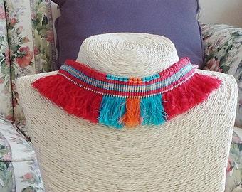 Native style choker, woven choker, textile choker,  hand made jewelry, boho, fiber choker, fiber necklace, textile necklace