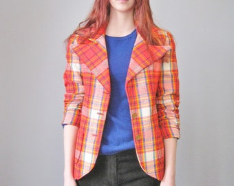 Mod Blazer / Vtg 70s / Red Blue Green Yellow Plaid Mod Blazer / Gold Buttons