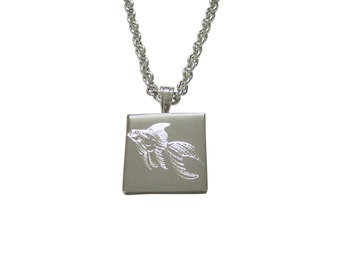 Silver Toned Etched Large Tropical Fish Pendant Necklace