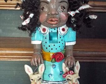 New Vintage Style Black Folk Art Easter Nutcracker Doll with Bunny Jols