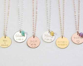 Personalized disc necklace Engraved kids names necklace mom Gold or silver Initial disc necklace Custom Birthstone necklace Mothers day gift