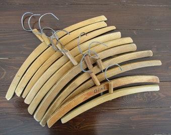 Wood Coat Hangers, 10 Antique Clothing Hangers, Simple Vintage Dress Hanger Set, Clothes Hangers, Closet Organizing