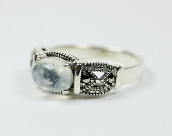 Boho Style Sterling Silver Marcasite and Moonstone Ring Size: P-7 3/4