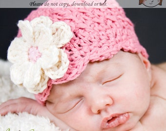 Pink Newborn Beanie with Flowers, Baby Hat with Flowers, Infant Beanie, Shell Beanie with Flowers, Baby Girls Hat, Rose Pink Hat, Baby Hat