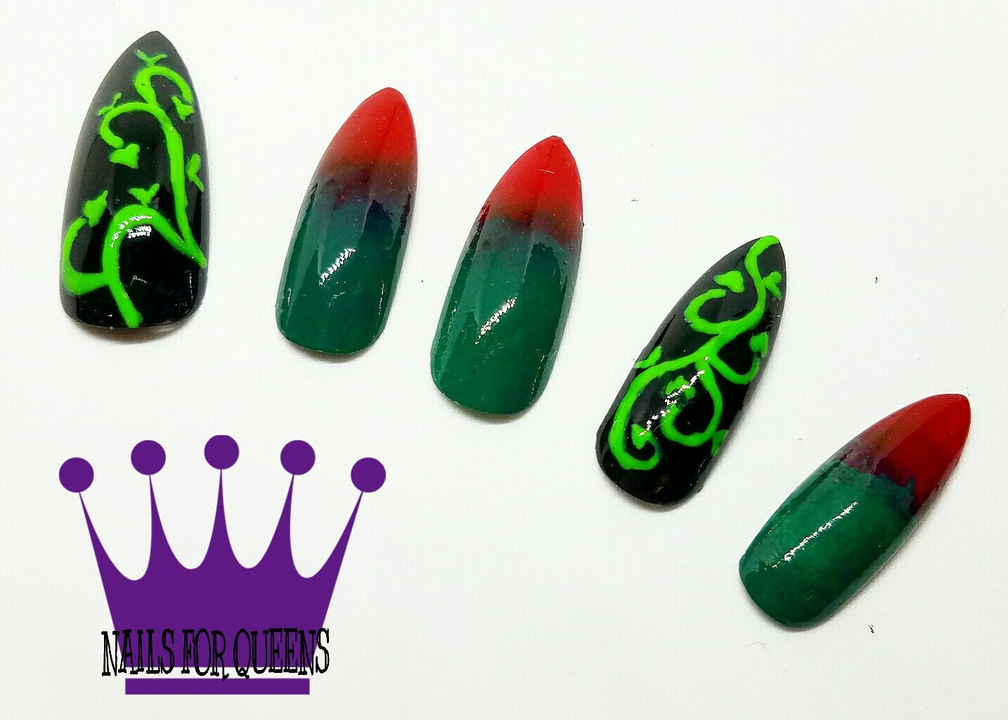 Handpainted Poison Ivy Long Stiletto Press On Nails | Poison Ivy ...