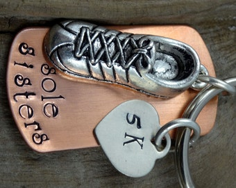 Sole Sisters 5K Marathon Running Key Chain OR Necklace - Engraved Runner  -  Necklace - Keychain Key Ring