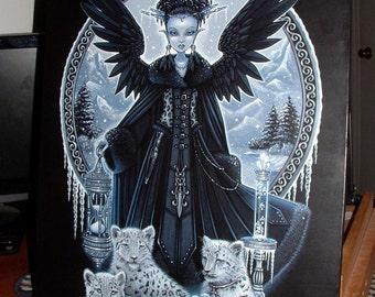 "Wynter-  16""x20""  Original Acrylic Painting Snow Leopards Gothic Fairy Queen Winter Myka Jelina"