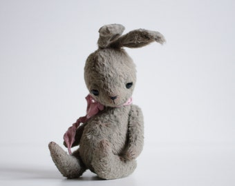 Made To Order Plush Bunny Mohair Rabbit 7 Inches Suffed Animal Soft Toys HandmadeToy Personalized Gift For Her Artist Teddy Bear